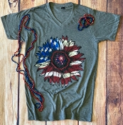STAR SPANGLED SUNFLOWER VNECK TSHIRT 8PK $60
