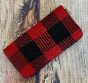 RED BUFFALO PLAID ZIPPER WALLET #MB0066-RED