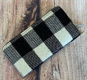 BLACK AND WHITE BUFFALO PLAID ZIPPER WALLET #MB0066-BLK/WHT