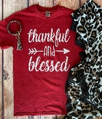 THANKFUL AND BLESSED RED TSHIRT 8PK $48