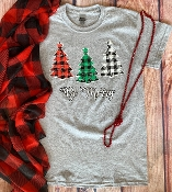 BE MERRY PLAID TREE TSHIRT 8PK $48