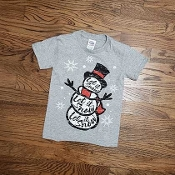 KIDS SIZE LET IT SNOW SNOWMAN TSHIRT 8PK $48
