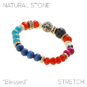 MULTI COLOR W/LAVA STONE STRETCH BRACELET #83692MU-BG $2.75