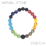 NATURAL STONE MULTI COLOR STRETCH BRACELET #83722RMU-8