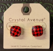 RED BUFFALO PLAID STUD EARRINGS #26637JTSI $3.00