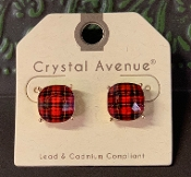 PLAID STUD EARRINGS #26637SIM-G $3.00