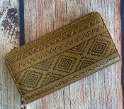 BROWN LEATHERETTE AZTEC ZIPPER WALLET #WT377X151A