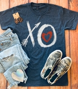 XO HEART HEATHER DENIM CREW NECK 8PK $60