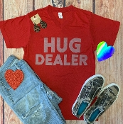 HUG DEALER RED VNECK TSHIRT 8PK $60