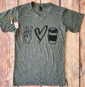 PEACE LOVE COFFEE TSHIRTS 8PK $60