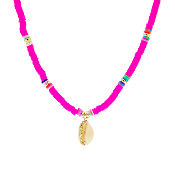 DISC BEAD NECKLACE W/SHELL #17416FU-G HOT PINK