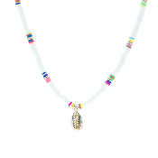 DISC BEAD NECKLACE W/SHELL #17416WH-G WHITE