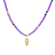 DISC BEAD NECKLACE W/SHELL #17416VI-G VIOLET