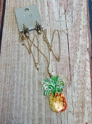 PAINTED PINEAPPLE NECKLACE SET #SS0726-WGMUL $5.00
