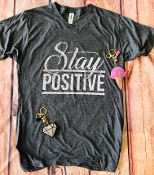 STAY POSITIVE CHARCOAL VNECK SHIRTS 8PK $60
