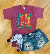 OK WEATHER MAP SHIRT WINE CREW NECK 8PK $60
