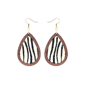 TEARDROP HIDE AND WOOD EARRING #27067-WH-G ZEBRA $3.50