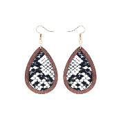 TEARDROP HIDE AND WOOD EARRING #27067-WHM-G WHITE SNAKE $3.50