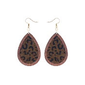 TEARDROP HIDE AND WOOD EARRING #27067-STO-G DRK LEOPARD $3.50