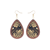 TEARDROP HIDE AND WOOD EARRING #27067-LCTM-G BROWN SNAKE $3.50