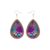 TEARDROP HIDE AND WOOD EARRING #27067-VM-G IRR SNAKE $3.50