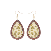 TEARDROP HIDE AND WOOD EARRING #27067-GDM-G GOLD LEOPARD$3.50
