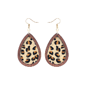 TEARDROP HIDE AND WOOD EARRING #27067-BE-G LEOPARD $3.50