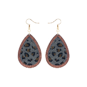 TEARDROP HIDE AND WOOD EARRING #27067-BD-G GREY LEOPARD $3.50