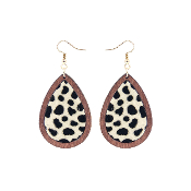 TEARDROP HIDE AND WOOD EARRING #27067-JTM-G BLK/WH LEOPARD $3.50