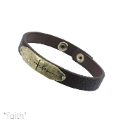 FAITH LEATHER MAGNETIC BRACELET #83909STO-WG $3.00